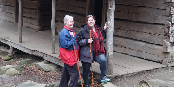 "Kathy Ogle and daughter Rachel at the Noah ""Bud"" Ogle Cabin"